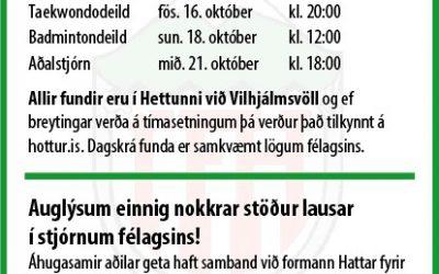 Aðalfundir Hattar 2020 tímasetningar